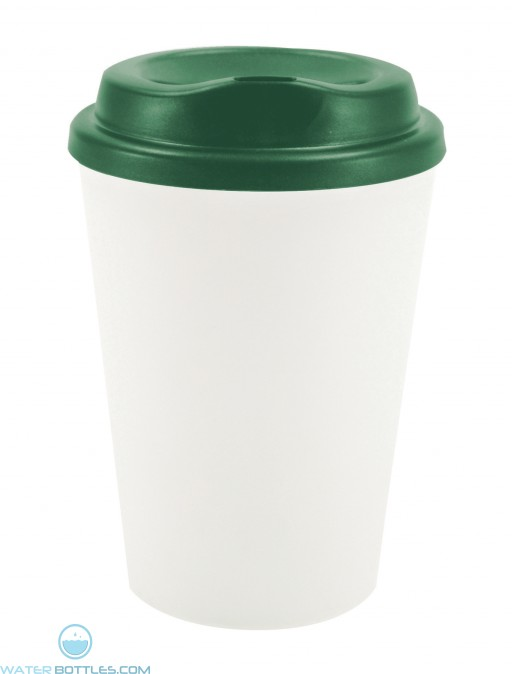 Grip N Go | 12 oz - White with Hunter Green Lid