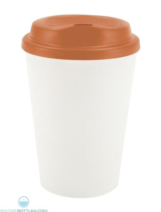 Grip N Go | 12 oz - White with Orange Lid