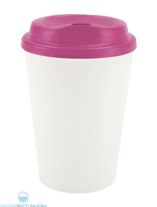 Grip N Go | 12 oz - White with Pink Lid