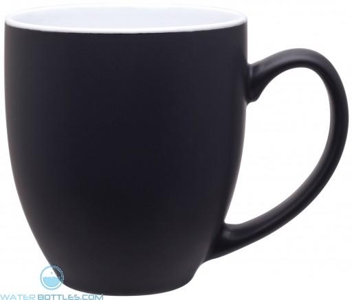 15 oz bistro mugs - 2 tone-matte black / glossy white