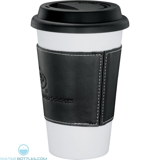 Branded White Ceramic Tumblers with Wrap | 11 oz - Black