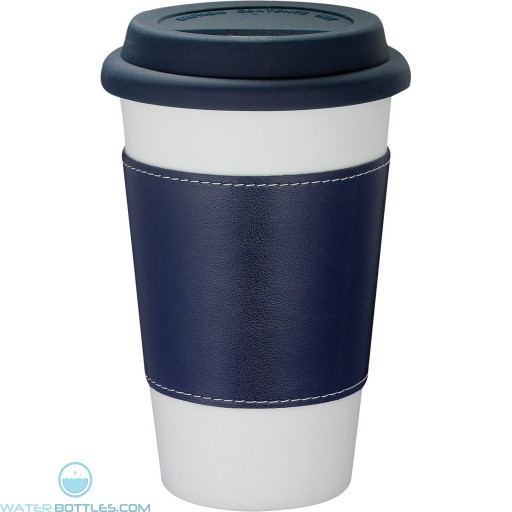 Branded White Ceramic Tumblers with Wrap   11 oz - Blue