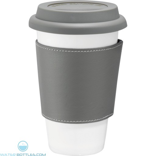 Branded White Ceramic Tumblers with Wrap | 11 oz - Grey