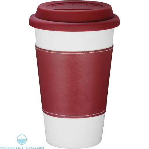 Branded White Ceramic Tumblers with Wrap | 11 oz - Red