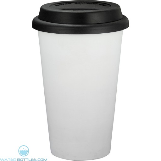 Branded White Ceramic Tumblers | 11 oz - Black