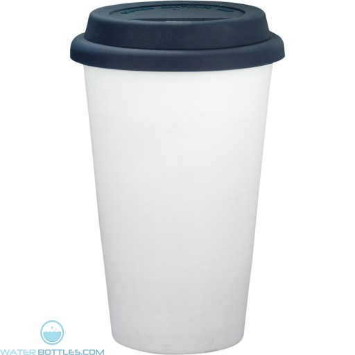 Branded White Ceramic Tumblers   11 oz - Blue
