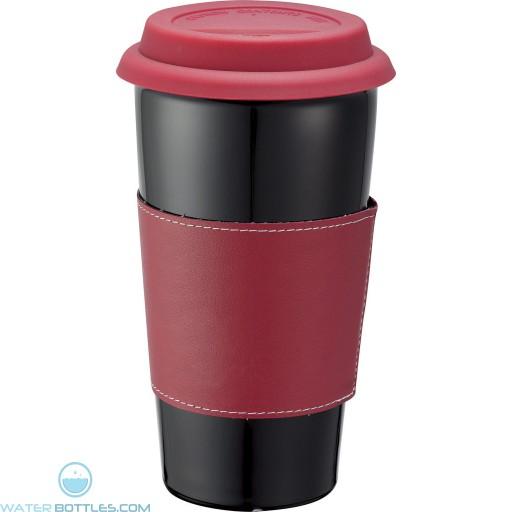 Custom Black Ceramic Tumblers | 15 oz - Red