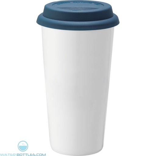 Promo Mega White Ceramic Tumblers   15 oz - Blue