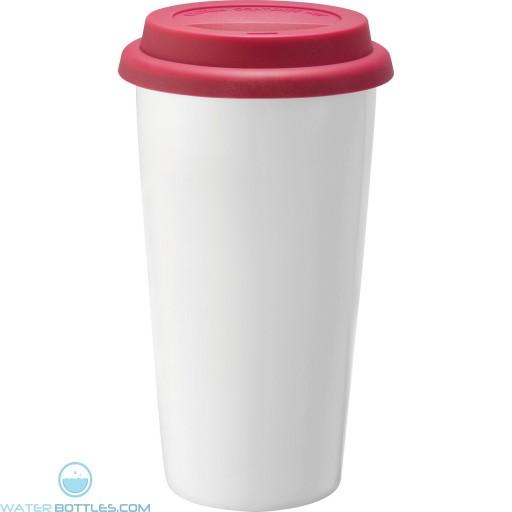 Promo Mega White Ceramic Tumblers   15 oz - Red