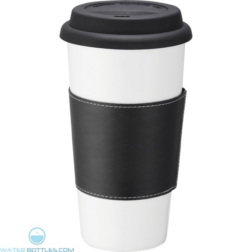 Custom White Ceramic Tumblers | 15 oz - Black