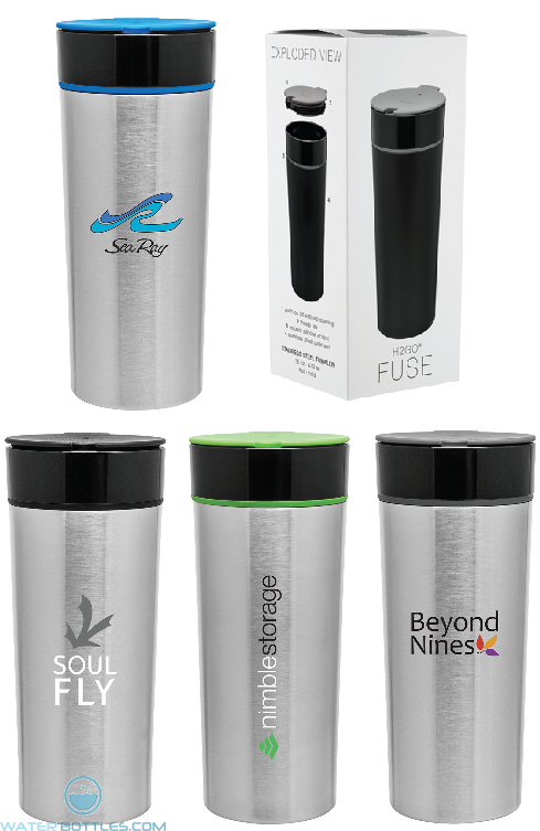 Custom Tumblers - H2Go Fuse Stainless Steel Tumbler | 16 oz