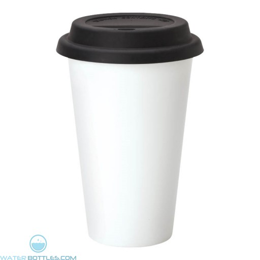 Double Wall Ceramic Tumblers | 11 oz - White with Black Silicone Lid