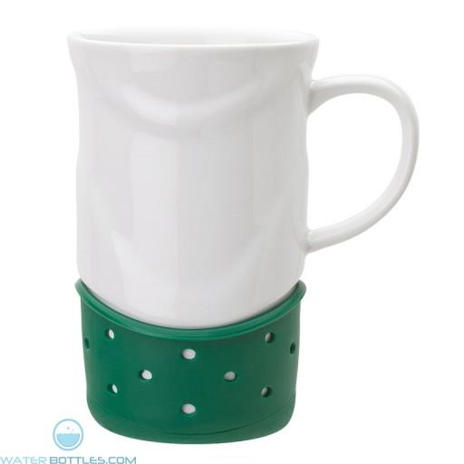 Ceramic Mugs   14 oz - White with Green Base