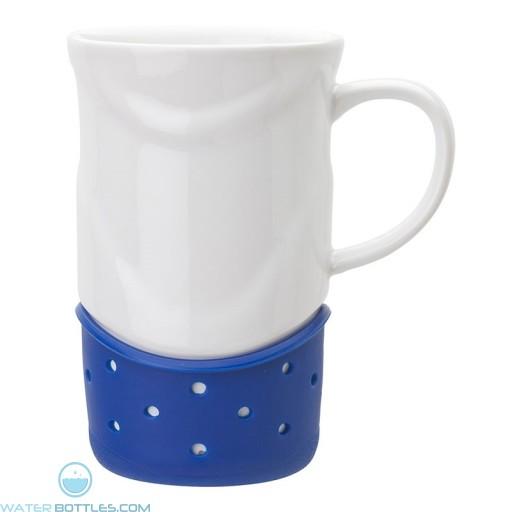 Ceramic Mugs | 14 oz - White with Navy Blue Base