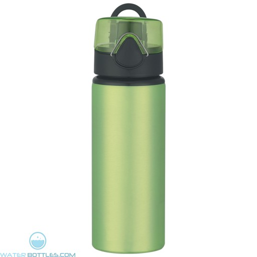 Aluminum Sports Bottles With Flip Top Lid   25 oz - Lime Green