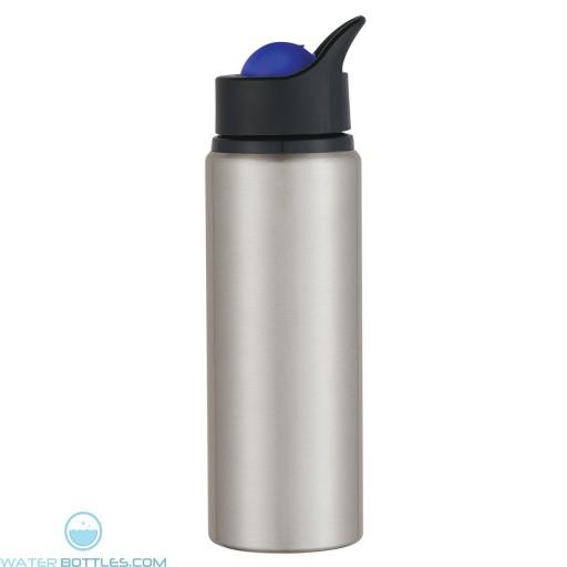 Aluminum Orbit Bottles | 24 oz - Silver Bottles With Blue Roto Ball