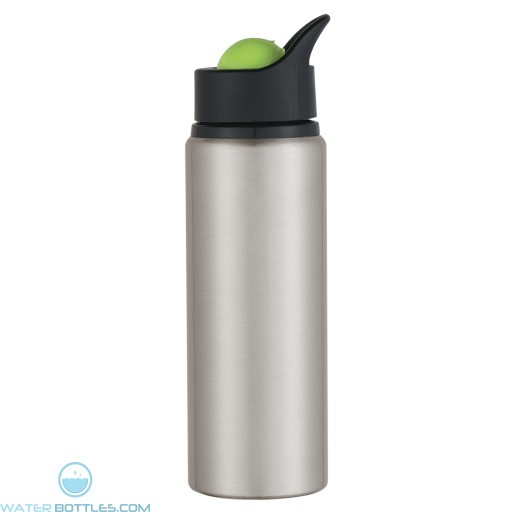 Aluminum Orbit Bottles | 24 oz - Silver Bottles With Lime Green Roto Ball