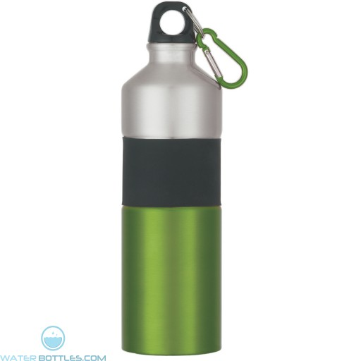 Two-Tone Aluminum Bottles With Rubber Grip   25 oz - Green