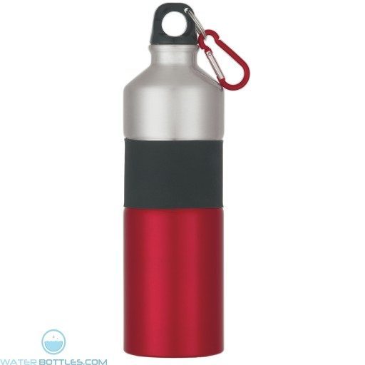 Two-Tone Aluminum Bottles With Rubber Grip   25 oz - Red