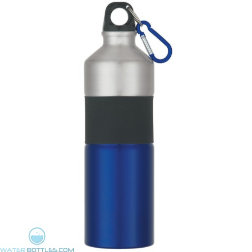 Two-Tone Aluminum Bottles With Rubber Grip   25 oz - Royal Blue