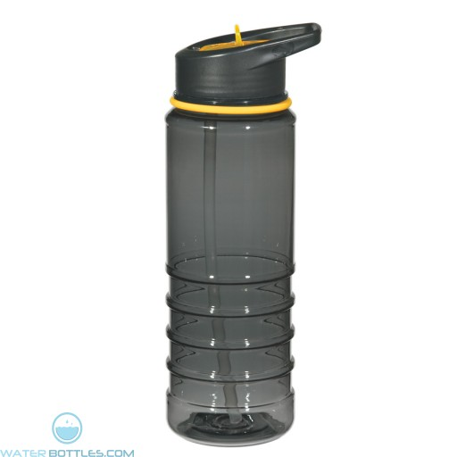 Gripper Bottles With Straw | 24 oz - Charcoal With Yellow Sip Top