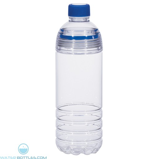 Easy-Clean Water Bottles | 28 oz - Clear Bottles With Blue Cap and Accents