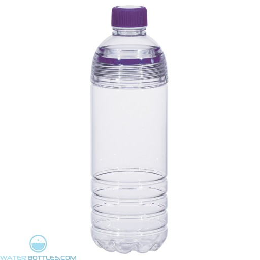Easy-Clean Water Bottles | 28 oz - Clear Bottles With Purple Cap and Accents
