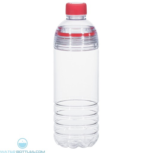 Easy-Clean Water Bottles | 28 oz - Clear Bottles With Red Cap and Accents