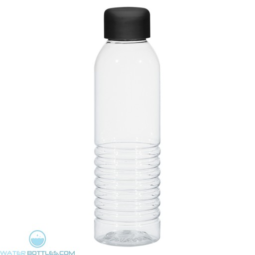 Bottles With Rubberized Cap | 18 oz - Clear with Black Cap
