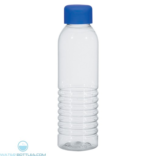 Bottles With Rubberized Cap   18 oz - Clear with Blue Cap