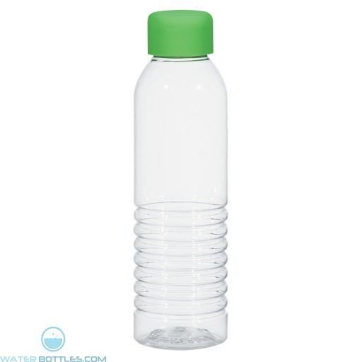 Bottles With Rubberized Cap | 18 oz - Clear with Lime Green Cap