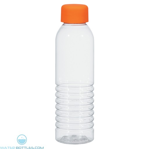 Bottles With Rubberized Cap | 18 oz - Clear with Orange Cap
