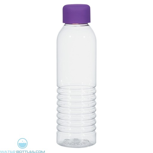 Bottles With Rubberized Cap | 18 oz - Clear with Purple Cap