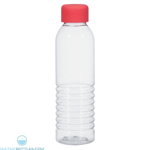 Bottles With Rubberized Cap   18 oz - Clear with Red Cap