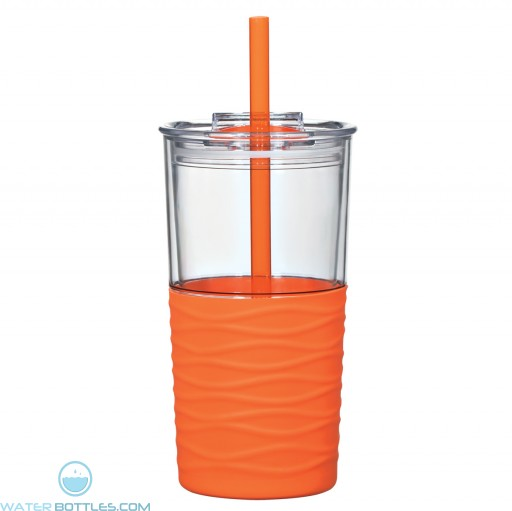 Riptide Tumblers | 20 oz - Clear with Orange Sleeve