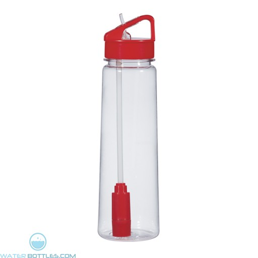 Economy Filter Bottles | 24 oz - Clear With Red Trim