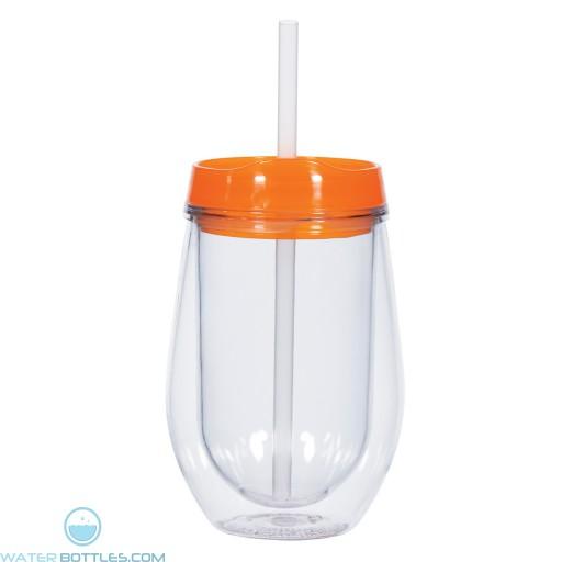 Bev/Go Tumblers   10 oz - Clear with Orange Lid