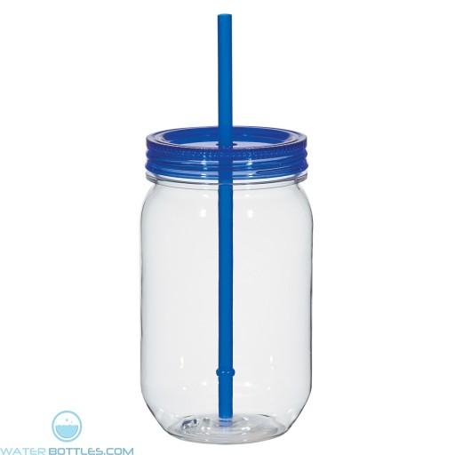 Mason Jar With Matching Straw   25 oz - Blue