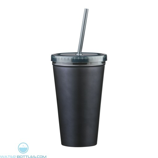 Stainless Steel Double Wall Tumblers With Straw | 16 oz - Black