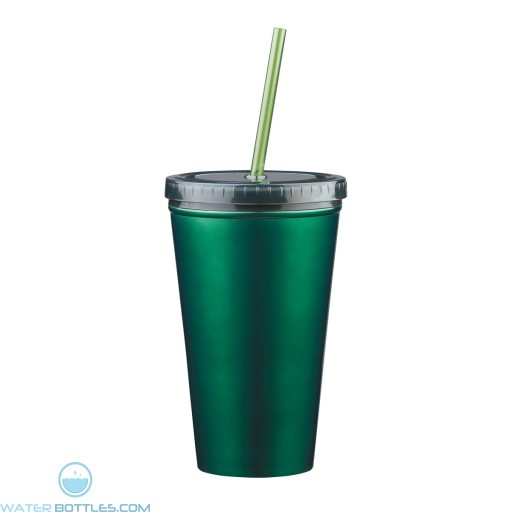 Stainless Steel Double Wall Tumblers With Straw | 16 oz - Green