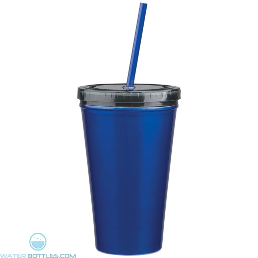Stainless Steel Double Wall Tumblers With Straw   16 oz - Blue