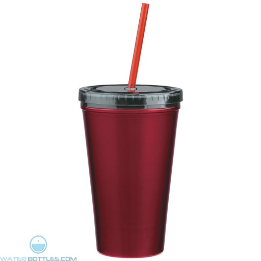 Stainless Steel Double Wall Tumblers With Straw | 16 oz - Red