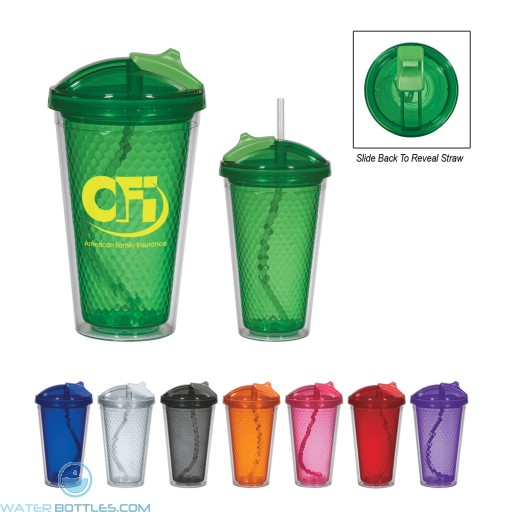 Promotional Tumblers - Diamond Double Wall Tumbler With Straw | 17 oz