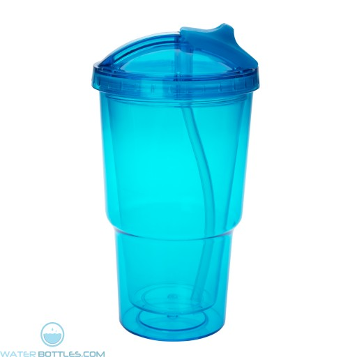 Double Wall Travel Tumblers With Straw   16 oz - Teal