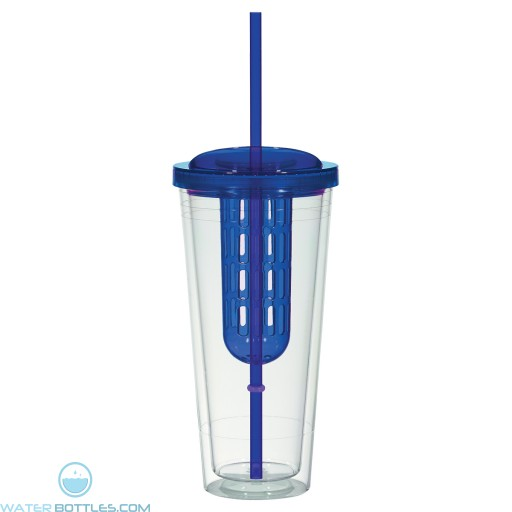 Double Wall Infusion Tumblers | 20 oz - Clear With Blue Lid and Chamber