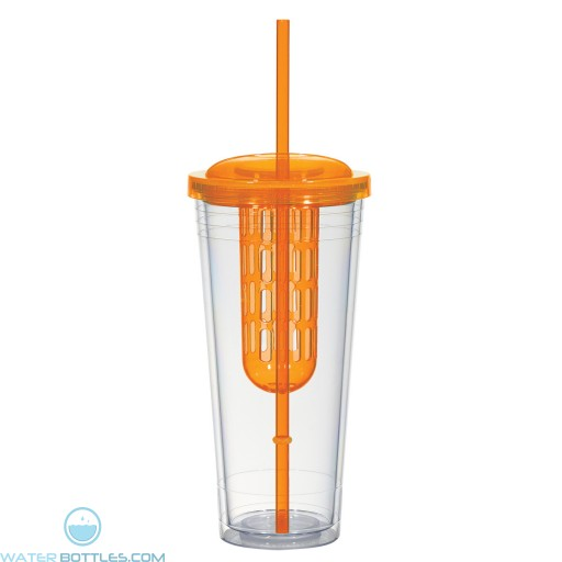 Double Wall Infusion Tumblers | 20 oz - Clear With Orange Lid and Chamber