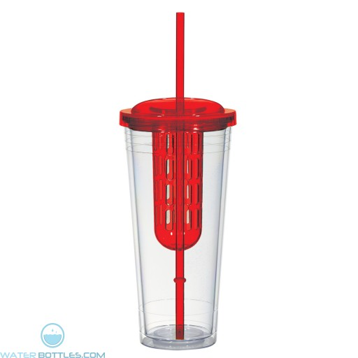 Double Wall Infusion Tumblers | 20 oz - Clear With Red Lid and Chamber