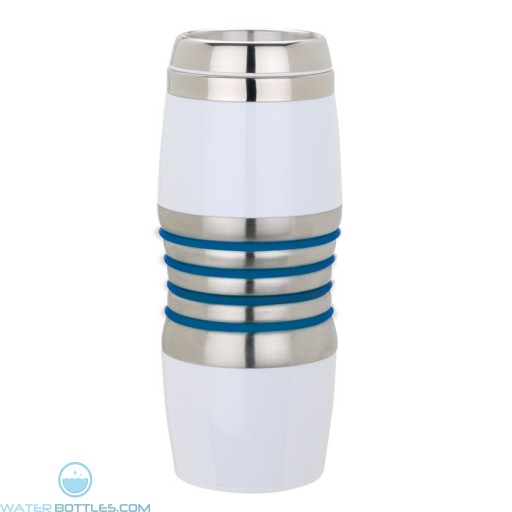 Acrylic & Steel Tumblers   16 oz - Stainless Steel with Blue Rings