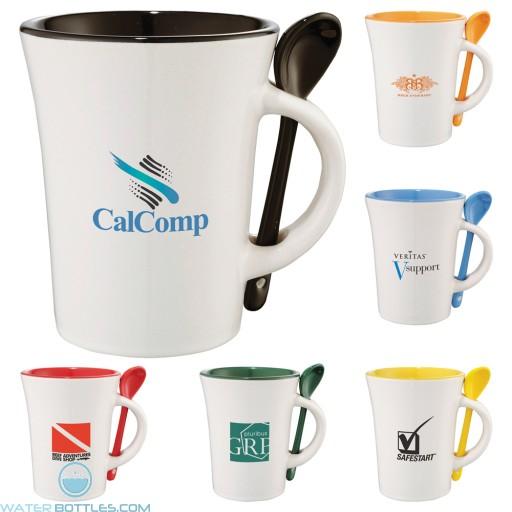 Promotional Mugs - Dolce Ceramic Mug With Spoon | 10 oz