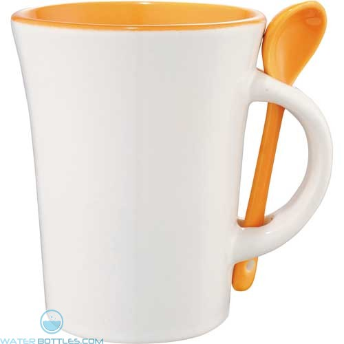 Dolce Ceramic Mugs With Spoon | 10 oz - White with Orange Trim